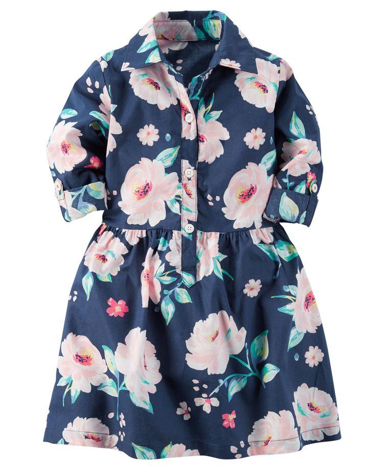 Toddler Girl Printed Poplin Shirt Dress | Carters.com