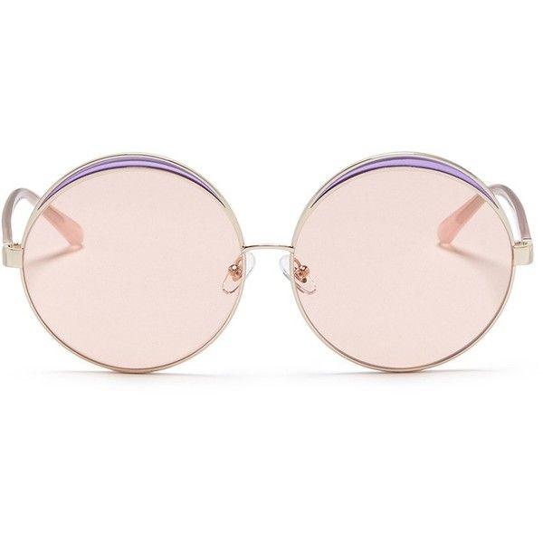 No.21 Colourblock metal oversized round mirror sunglasses (£195) ❤ liked on Polyvore featuring accessories, eyewear, sunglasses, glasses, occhiali, metallic, oversized round sunglasses, round glasses, metal rimmed glasses and metallic sunglasses