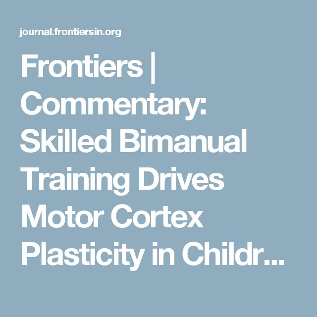 Frontiers | Commentary: Skilled Bimanual Training Drives Motor Cortex Plasticity in Children With Unilateral Cerebral Palsy | Frontiers in Human Neuroscience