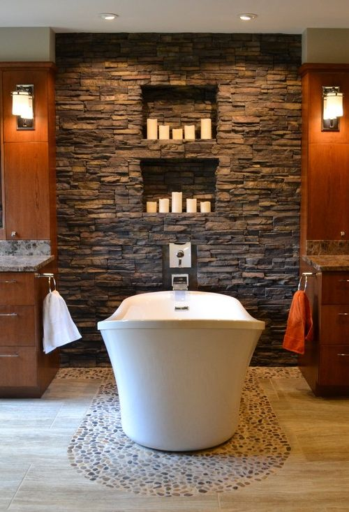 20 best images about bathroom ideas on pinterest pebble for Stacked stone bathroom ideas