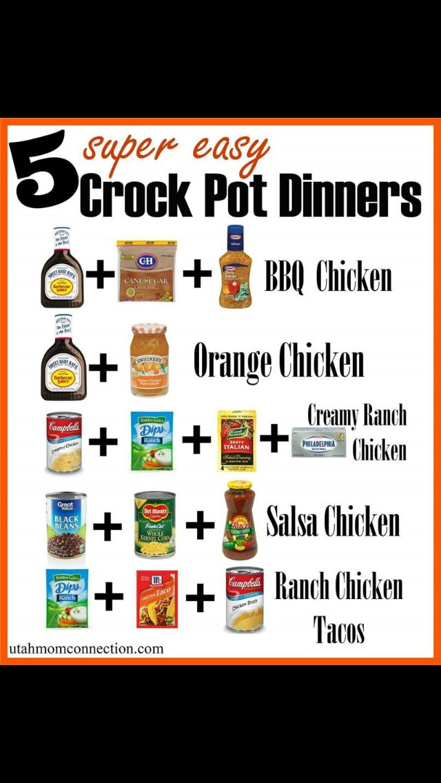 5 Super Easy Crock Pot Dinners  1. BBQ Chicken  3-4 Chicken breasts (boneless,skinless) 16 oz bottle of BBQ Sauce (we like Sweet Baby Rays) 1/2 cup Zesty Italian Dressing 1/4 cup brown sugar  Mix together ingredients. Put in crock pot. Cook low: 2-3 hours/High 4-5 hours Shred with a fork and serve on buns for yummy BBQ chicken sammies. Or leave them whole and serve with some garlic mashed potatoes and veggies.  2. Orange Chicken  3-4 Chicken breasts 1 cup BBQ sauce 1 cup Orange Marmalade…