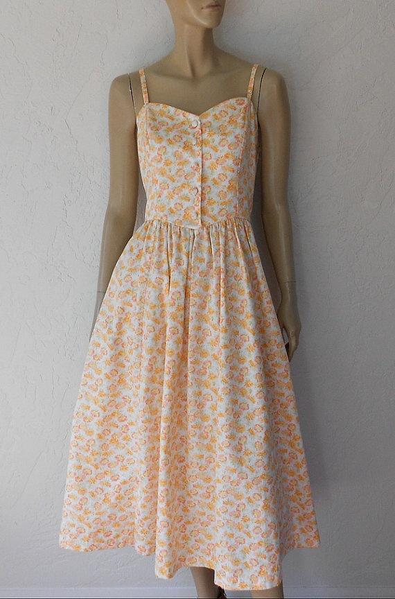 Vintage Dress 80 S Laura Ashley Floral Garden Tea By