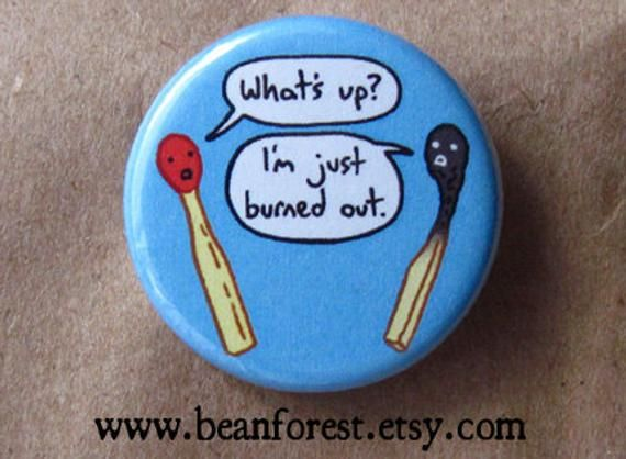 Matchstick – burned out – pinback button badge