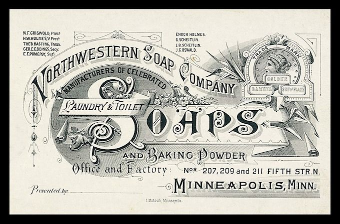 Leather head proof (detail) -- Northwestern Soap Company | Sheaff : ephemera