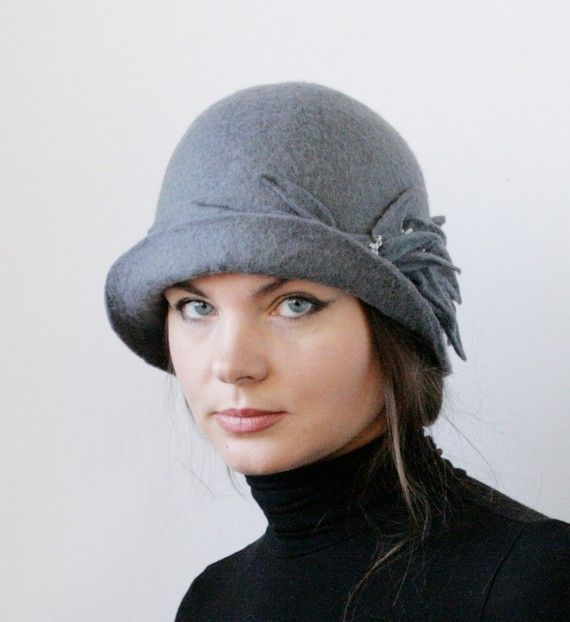 Gray Cloche Hat Hand Felted Wool Size Medium by vaivanat on Etsy