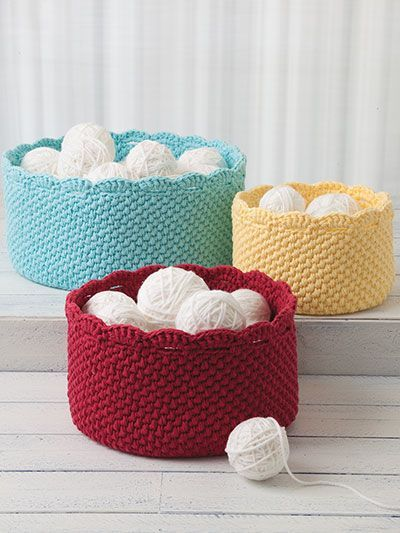 Crochet basket patterns for yarn storage, craft storage, kids toys and more                                                                                                                                                                                 More