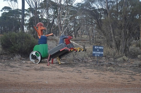 The Tin Horse Highway, near Kulin, Western Australia.  This one is Ben Horse :)