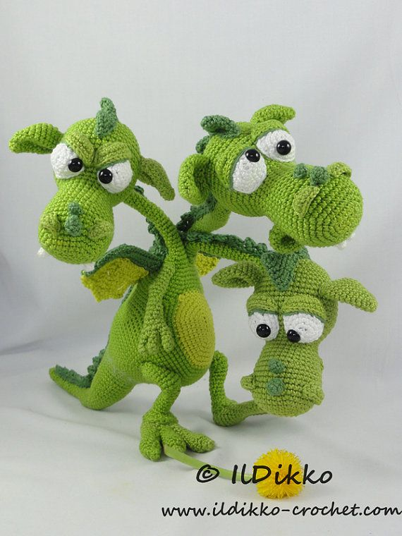 Brutus-Brian-Boris the Three Headed Dragon - Amigurumi Crochet Pattern