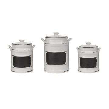 Vintage White Chalkboard Canisters, Set of 3 | Kirklands