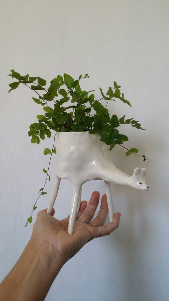 Gal Cockatoo-Collins - Ceramic Deer Planter / indoor planter / succulent planter