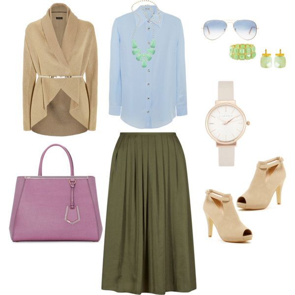 Olive Skirt + Light colors by edeln on Polyvore featuring, ESCADA, Miu Miu, Top Guy, Fendi, Kendra Scott, Catherine Canino Jewelry, Olivia Burton and Ray-Ban