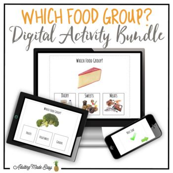 Which Food Group? NO PREP, PAPERLESS, digital interactive PDF activity BUNDLE comes with 2 interactive activities to practice identifying food groups of common food items. This Comes With: -Which Food Group? w/ Visuals 79 Interactive Questions -Which Food Group?