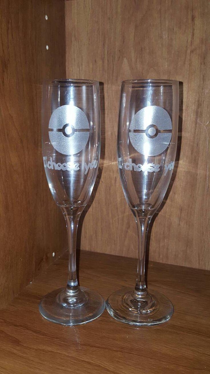 "Laser Engraved Pokémon Inspired ""I choose you "" Champagne Flutes ~ Wedding Glass ~ Geek Wedding ~ Ne"