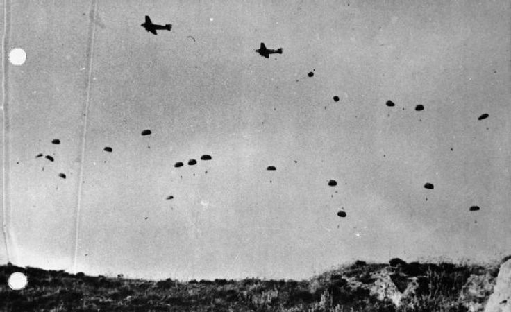 German paratroopers jumping From Ju 52s over Crete, May 1941.