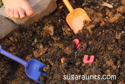 Mom to 2 Posh Lil Divas: Digging for Letters: An Outdoor Learning Activity for Kids