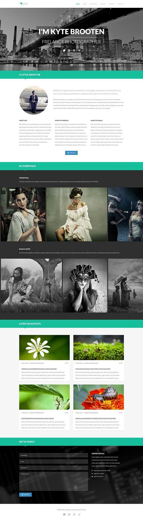 Kyte, free psd template for one page website.