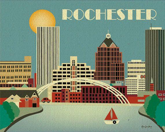 Rochester, New  York Skyline - 8 x 10 horizontal skyline Print for Nursery, Office, Original illustration Home Decor Wall Art E8-O-ROC