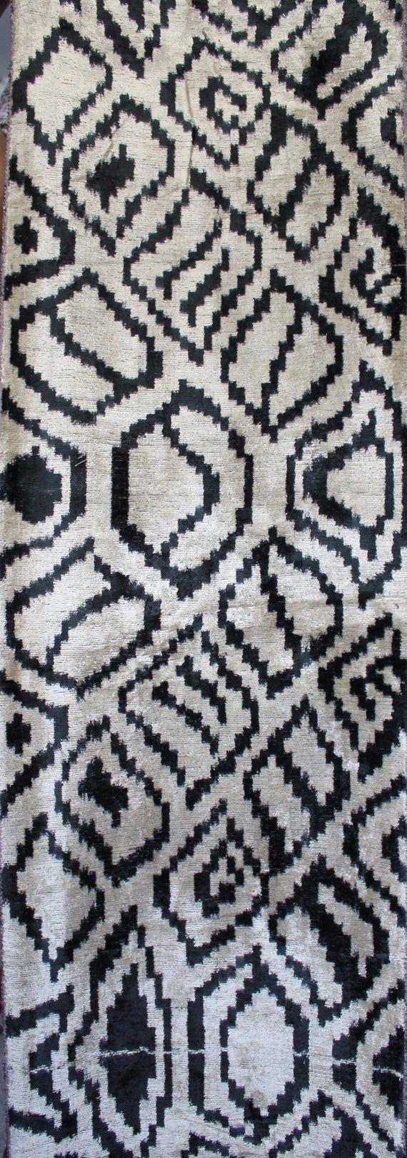 With FEDEX ,Width: 17 inches- ikat velvet fabrics, decorative fabric, tradional uzbeki fabrics, 3 yards