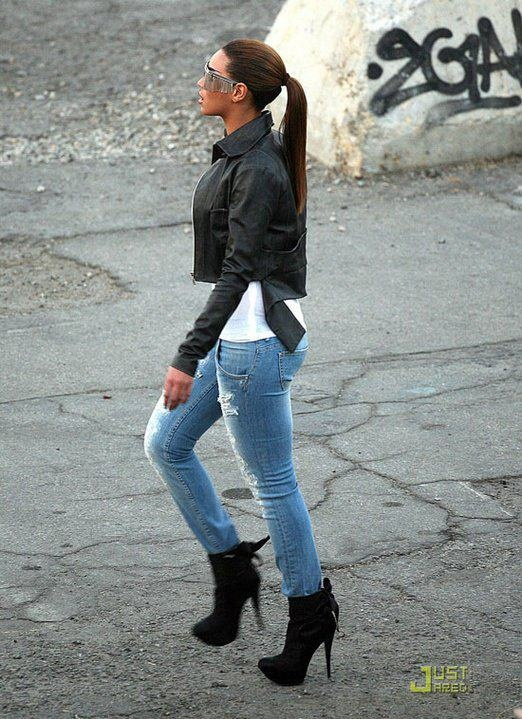 B.straight leg jeans.boots. leather. straight ponytail.glasses. phat.