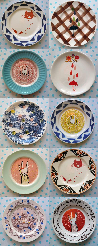 Emaux sur assiettes vintage, cuites à haute température, passent au micro-onde ou au lave-vaisselle