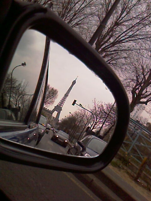 Eiffel Tower in Rear-view mirror- You should never say good-by to Paris, only au revoir....
