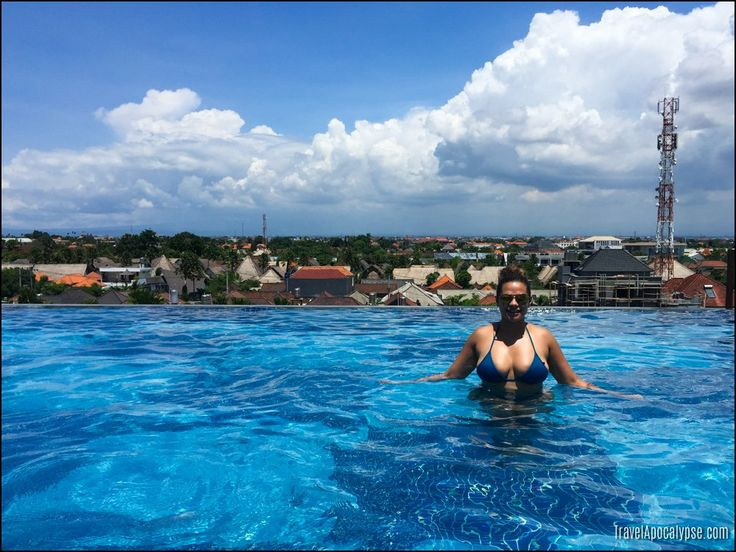 Angie relaxing at a rooftop pool in Seminyak