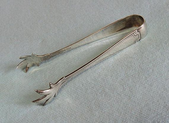 "Old Mark 4 1//4/"" Gorham Etruscan Sterling Silver Sugar Tongs"