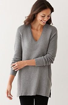Love the simple v-neck sweater but in the tunic length.  And grey is such a classic neutral.