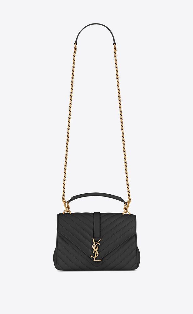 SAINT LAURENT Monogram College Woman medium collège bag in black matelassé  leather and vintage gold- 3414f773c64da