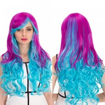 Cosplay Synthetic Long Purple Gradient Blue Inclined Bang Wavy Wig