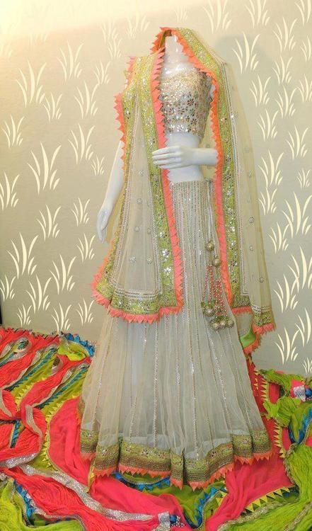 neon and cream bridal lehenga