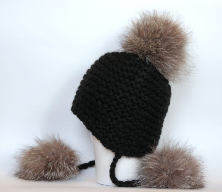 Chunky knit hat with fur pom poms / Peruvian hat / Earflap hat  / Womens kntted black hat / Bobble beanie / Recycled fox fur - pinned by pin4etsy.com