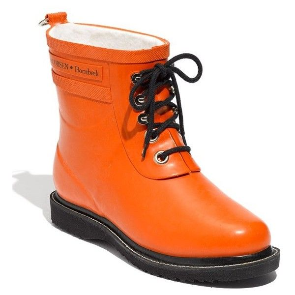Women's Ilse Jacobsen Hornbaek 'Rub' Boot ($170) ❤ liked on Polyvore featuring shoes, boots, ankle booties, orange, platform ankle booties, mid heel boots, rubber boots, rubber sole boots and rain boots