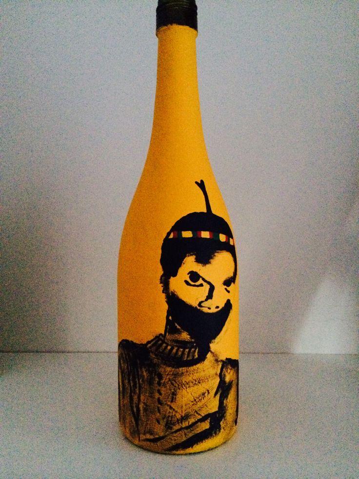 "#desmonddekker ""soul rebel ninja"" recycled wine bottle & paint"