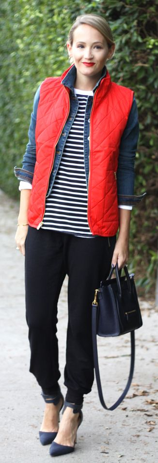 The Style Editrix keeps fall outfits interesting with layering. This Old Navy Quilted Vest adds a pop of color when combined with her comfortable Terry-Fleece Zip-Panel Joggers.   source: http://thestyleeditrix.com/red-quilted-vest/