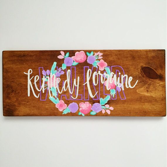 Baby Girl Name Sign by thegolddoodle on Etsy