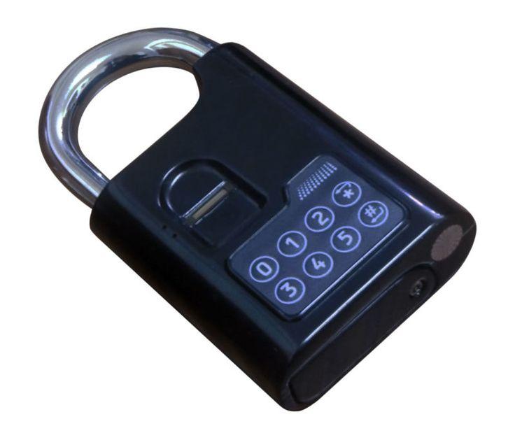 Cadeado Cadeado fechadura da porta de Impressão Digital Biométrico de impressões digitais fechaduras da porta do Apartamento Caixa Metálica De bloqueio com senha fingerprint + psw(China)