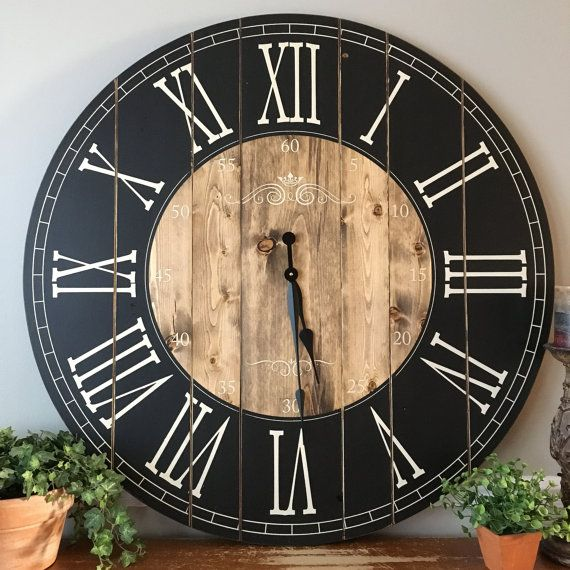 Our current processing time for clock orders is 10 weeks. Please allow us the time needed to complete your clock and to ship it out. ★ Handcrafted Farmhouse Clock ★ Clocks above is shown in Black with Bleached Sand Numbers and Light Stain, first personalized clock is shown in