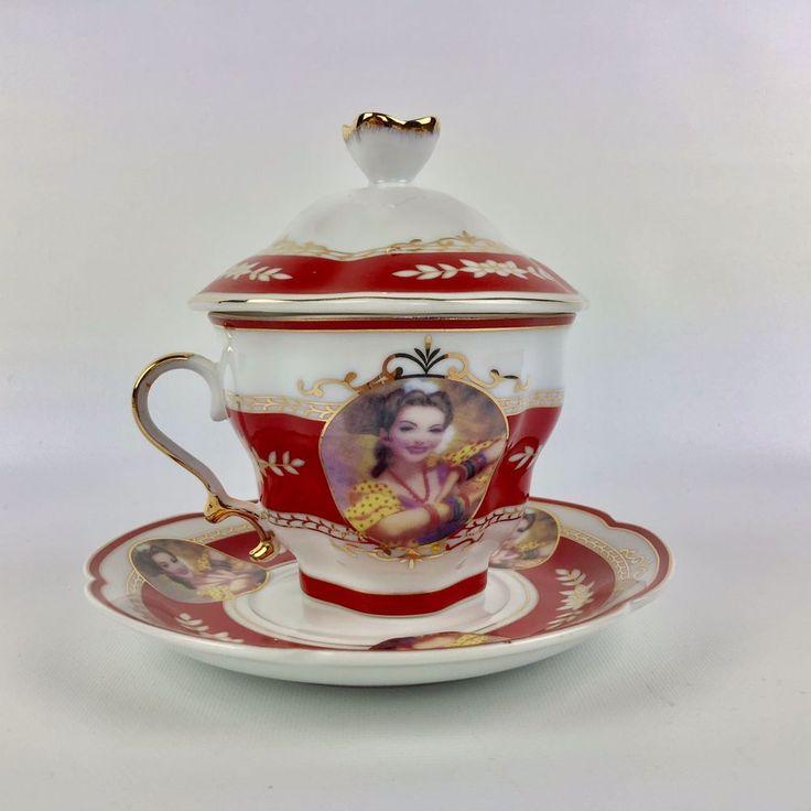 Echt Porzellan Portrait Covered Tea Cup and Scalloped Saucer Germany Red Gold #EchtPorzellanDesign