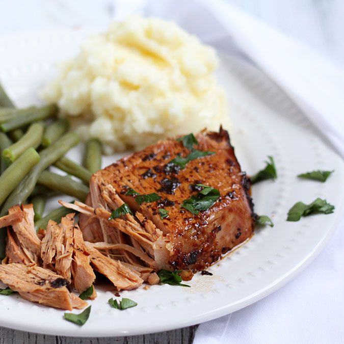 Pork roast with a sweet balsamic sauce prepared in your slow cooker.