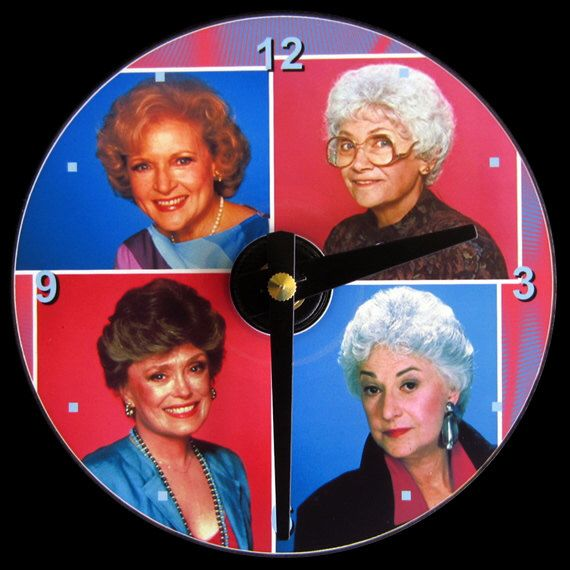 GOLDEN GIRLS Wall Clock - CD Size, 4.75 inch diameter. Betty White, Bea Arthur, Rue McClanahan, Estelle Getty. Clock makes a nice gift. by AmericanDreamy on Etsy https://www.etsy.com/listing/159551946/golden-girls-wall-clock-cd-size-475-inch