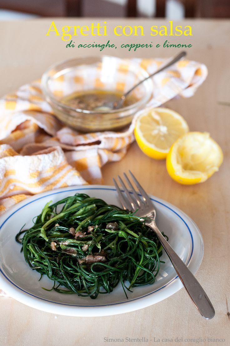 Ecco la ricetta light che avevo promesso! Questa è veloce, veloce e sa di primavera. Gli agretti, o Barba di frate sono una verdura eccellente per proprietà e sapore.