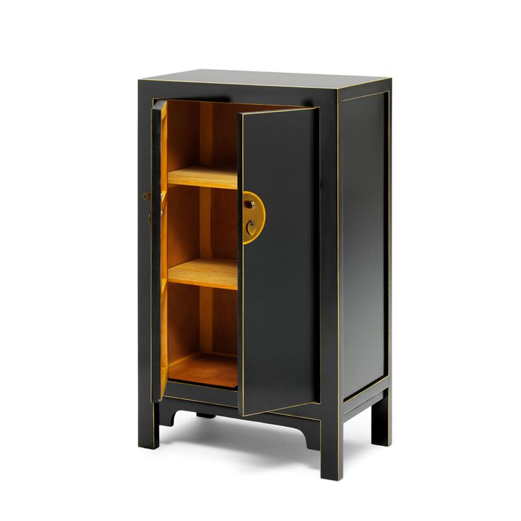 Medium Black Chinese Cabinet With Distressed Gold Clasps And Gold Leaf  Edging.