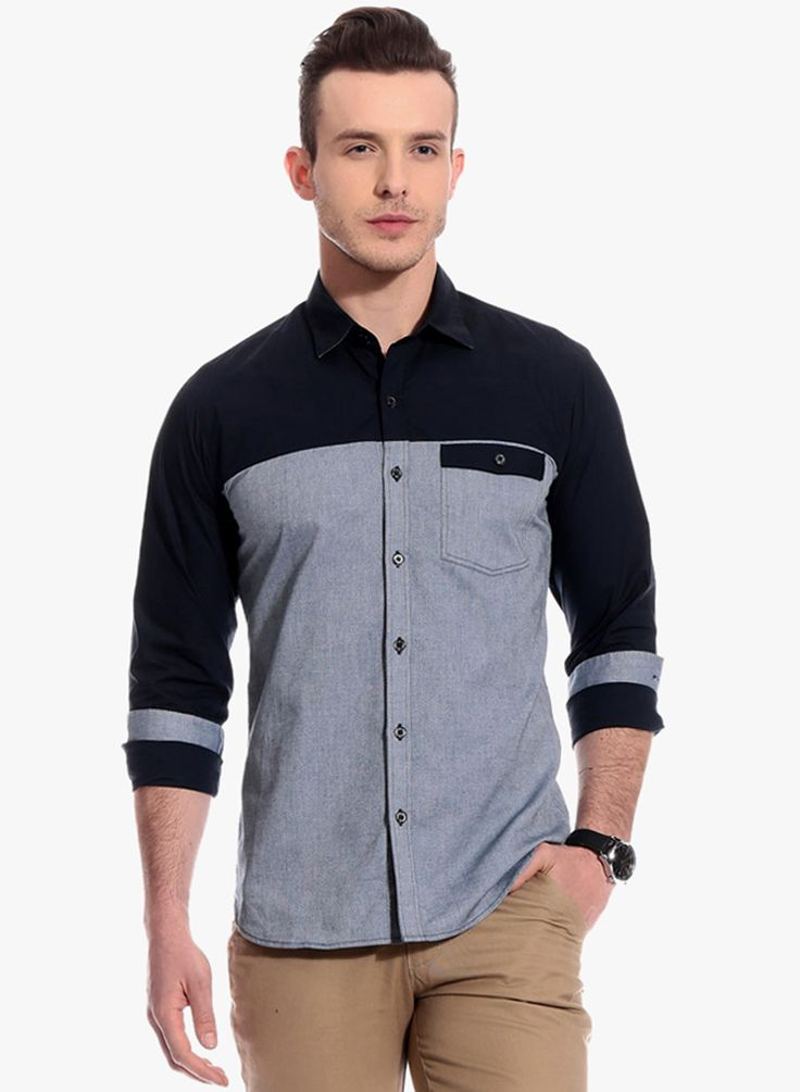 Buy Bolt Blue Solid Slim Fit Casual Shirt for Men Online India ...