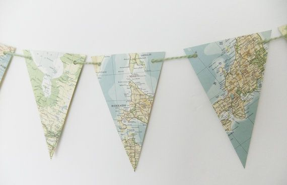 Map bunting - upcycled garland, vintage map pennants - world map banner - 3 yards bunting - Pennant