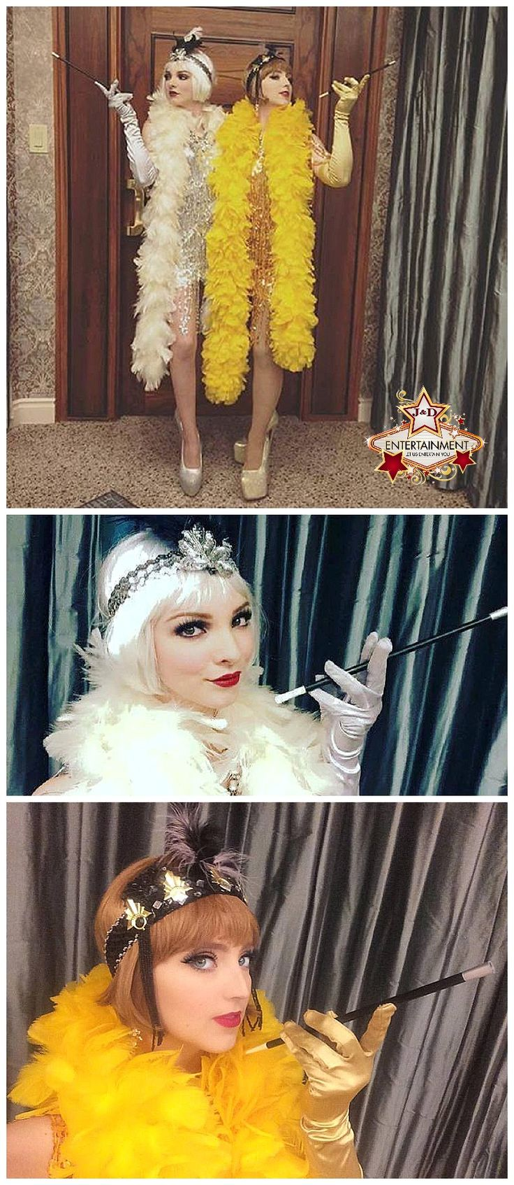 These 1920's Gatsby style flapper girls are the bee's knees! Gold and silver sequin fringe dresses and matching boas.. great for greeting guests and passing out party favors. Entertainers and costuming provided by J&D Entertainment in Houston, TX www.jdentertain.com