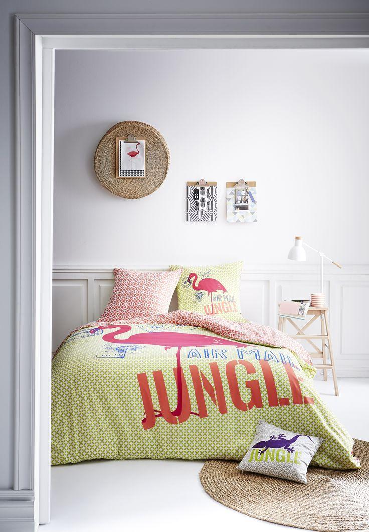 """Parure de lit """"Jungle flamingo"""" (dim. 220x240cm) - TODAY"""
