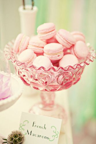 Romantic pink french macarons