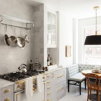 Gray French Kitchen with Dining Space
