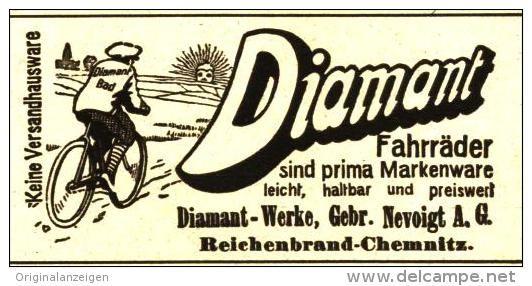 Original-Werbung/ Anzeige 1914 - DIAMANT- FAHRRÄDER / NEVOIGT REICHENBRAND- CHEMNITZ- ca. 80 x 40 mm